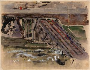 Rail Bridge near Caen: Series of sketches for work in IWM