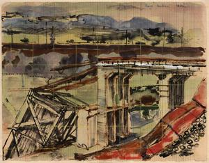 Railway Bridge near Caen: Series of sketches for work in IWM