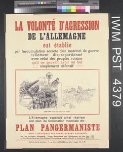 La Volonté d'Agression de l'Allemagne est Établie [Germany's Aggressive Intentions Have Been Established]
