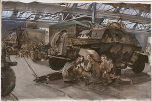 ATS Electricians and Fitters : Repairing an armoured car in REME workshops at Ashford, Kent, 1944