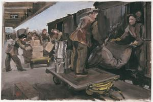 ATS attached RAOC : Unloading a train at the depot siding at Ashford, Kent, 1944