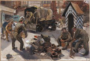 Pioneers Clearing Out an SS HQ Brussels : October 1944