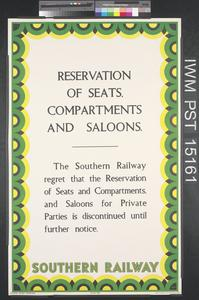 Reservation of Seats, Compartments and Saloons