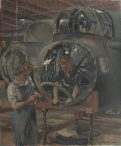 A Nose section after Repair : Girls fitting supports to take the bomb-aimer's window