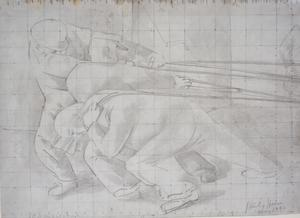 Study for 'Riveters' - Hauling on Ropes