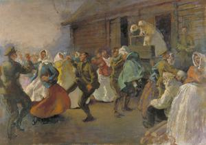Russian Soldiers Dancing with Peasant Women