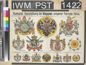 Humorist - Darstellung der Wappen unserer Feinde 1914 [Humoristic Illustration of our Enemies' Coats of Arms in 1914]