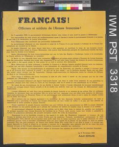 Français! Officiers et Soldats de l'Armée Française! [Frenchmen! Officers and Soldiers of the French Army!]