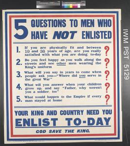 Five Questions to Men who have Not Enlisted