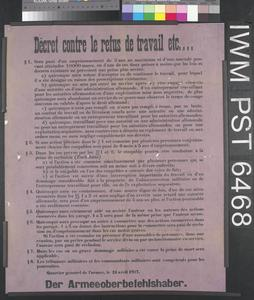 Décret Contre le Refus de Travail etc.... [Decree Against Refusal to Work, etc....]