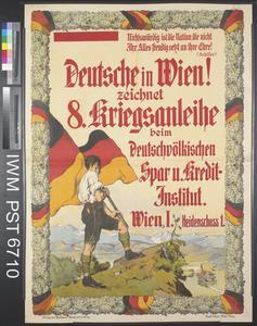 Deutsche in Wien! Zeichnet Achte Kriegsanleihe [Germans in Vienna! Subscribe to the Eighth War Loan]