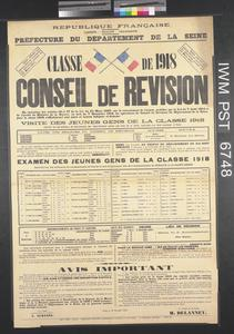 Classe de 1918 - Conseil de Revision [Class of 1918 - Recruiting Board]