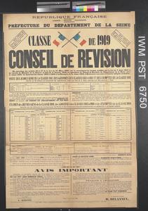 Classe de 1919 - Conseil de Revision [Class of 1919 - Recruiting Board]