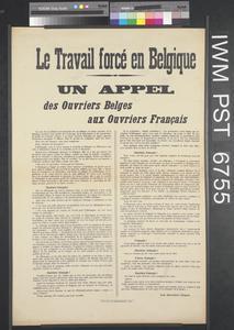 Le Travail Forcé en Belgique - Un Appel [Forced Labour in Belgium - An Appeal]