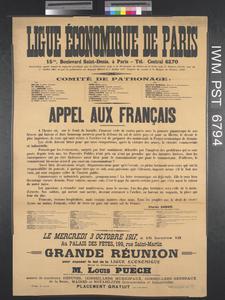 Ligue Économique de Paris - Appel aux Français [Paris Economic League - Call to the People of France]