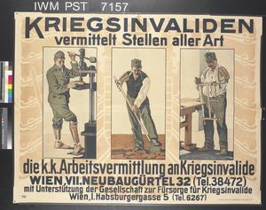 Krieginvaliden Vermittelt Stellen Aller Art [Procures Jobs of All Kinds for the War-Disabled]