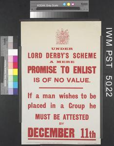 Under Lord Derby's Scheme...