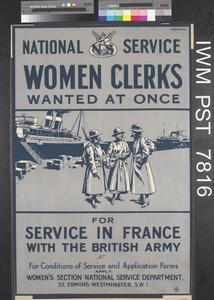 National Service Women Clerks Wanted at Once