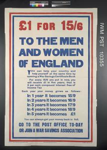 One Pound for 15 Shillings and Sixpence - To the Men and Women of England