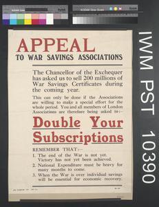 Appeal to War Savings Associations