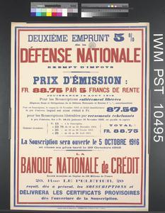 Deuxième Emprunt Cinq pour cent de la Défense Nationale [Second Five Percent National Defence Loan]