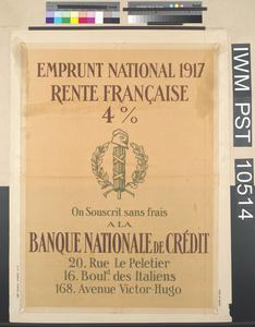 Emprunt National 1917 Rente Française Quatre pour cent [Four Percent French Income Bond National Loan 1917]