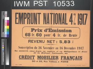 Emprunt National Quatre pour cent 1917 [Four Percent National Loan 1917]