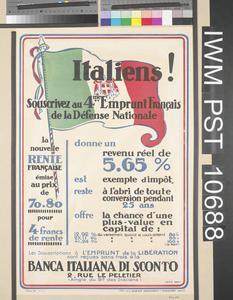 Italiens! - Souscrivez au quatrième Emprunt Français de la Défense Nationale [Italians! - Subscribe to the Fourth National Defence Loan]