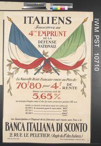 Italiens - Souscrivez au Quatrième Emprunt Français de la Défense Nationale [Italians - Subscribe to the Fourth National Defence Loan]