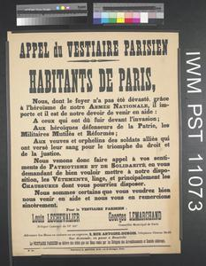 Appel du Vestiaire Parisien [Appeal from the Paris Collection Centre]