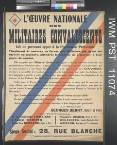 L'Œuvre Nationale des Militaires Convalescents [The National Charity for Convalescent Soldiers]