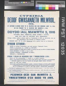 Cyfeiria Deddf Gwasanaeth Milwrol 1916 [The Military Service Act 1916 refers...]