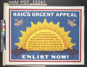 Haig's Urgent Appeal