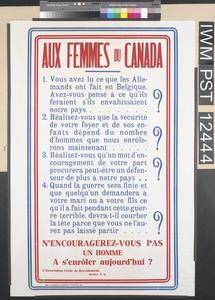 Aux Femmes du Canada [To the Women of Canada]