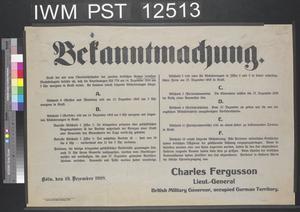 Bekanntmachung [Proclamation]