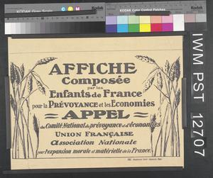 Affiche Composée par les Enfants de France [Poster Designed by the Children of France]