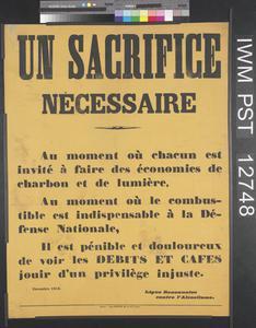 Un Sacrifice Nécessaire [A Necessary Sacrifice]