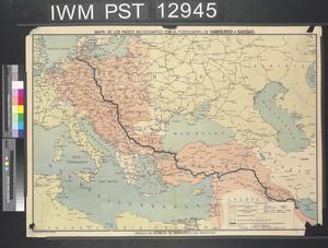 Mapa de los Paises Beligerantes con el Ferrocarril de Hamburgo a Bagdad