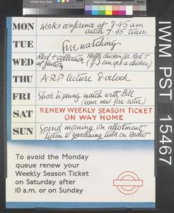Renew Weekly Season Ticket on Way Home