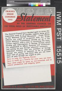 Trades Union Congress 1942 - Statement by the General Council on the Vital Need of National Savings