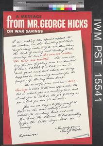 A Message from Mr George Hicks on War Savings