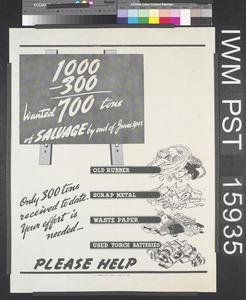 Wanted - 700 Tons of Salvage by End of June 1943