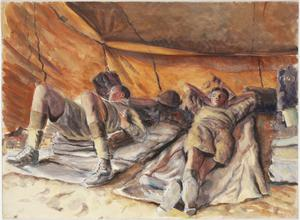 Two Soldiers Lying on Bedding in a Tent, 1943