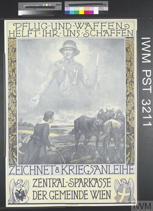 Pflug und Waffen Helft ihr uns Schaffen - Zeichnet Achte Kriegsanleihe [Help us Procure Ploughs and Arms - Subscribe to the Eighth War Loan]