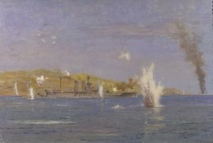 HMS Queen Elizabeth Shelling Forts, Dardanelles. The attack on the Narrows, Gallipoli, 18th March, 1915