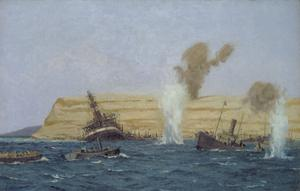 "The Base Camp, Cape Helles, Under Shell Fire, August 1915: The ""SS River Clyde"" is seen aground."