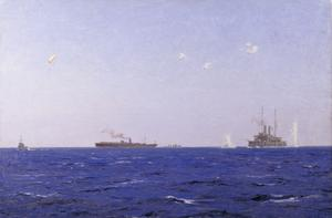 The Balloon Ship Hector with Kite Balloon Spotting Off the Left Flank at the Dardanelles Operations, 1915