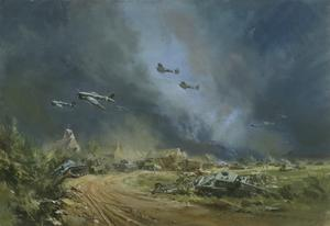 Rocket-firing Typhoons at the Falaise Gap, Normandy, 1944
