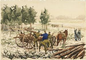 Prisoners Loading Wood for Winter Fuel
