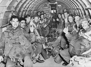 BRITISH PARATROOPS ON WAY TO LAND IN HOLLAND, 17 SEPTEMBER 1944